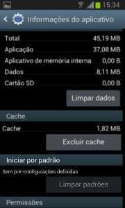 Menu de configuração de opções para aplicativos no Android