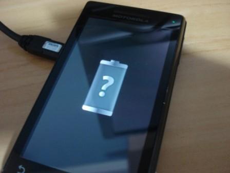 ponto de interrogação na tela de carregar a bateria no smartphone Android
