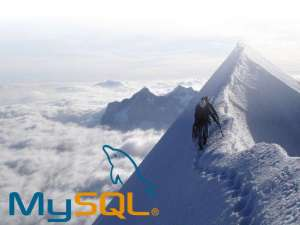 pícture of a mountain and mysql logo