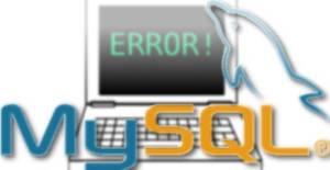 computador exibindo erro no mysql