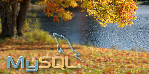 Outumn trees over lake and mysql logo