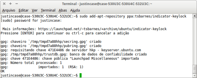 Captura de tela  do ubuntu add-apt-repository