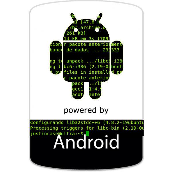 Logo Android sobre um terminal