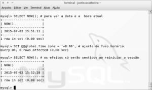 Captura de tela - MySQL set global time_zone