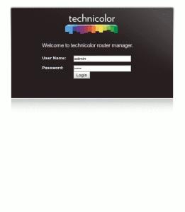 Roteador tecnicolor tela de autenticação
