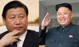 Xi Jinping (à esquerda) e Kim Jong Un