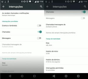 Android configuração de interrupção e não perturbe