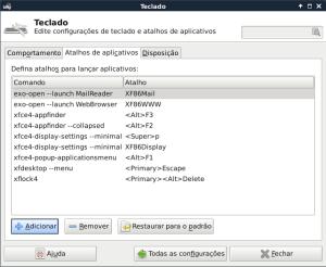 XFCE Painel de atalhos de teclado