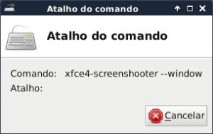 XFCE - Informar atalho do comando
