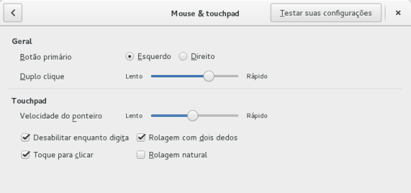 Configurações do touchpad no GNOME 3