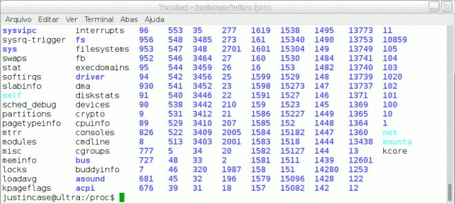 captura de tela da listagem do diretório /proc em um sistema GNU/Linux por Elias Praciano