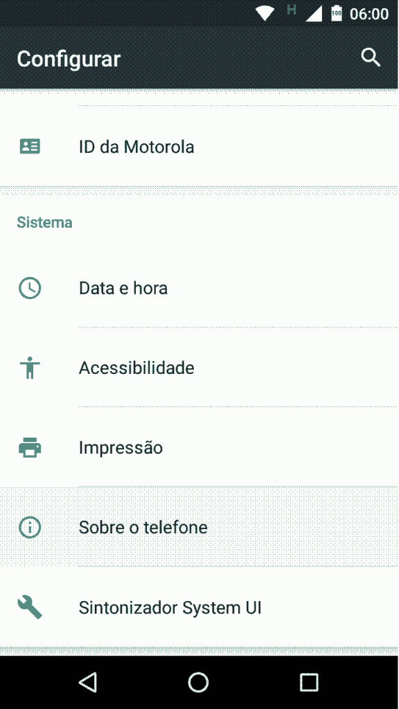 Android 6.0 - menu configurações - Sistema - Sobre o telefone