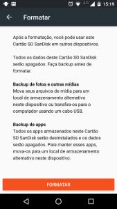 confirmação para formatar cartão SD no Android