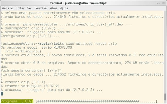 Barra de progressos na execução do apt-get e aptitude no Ubuntu e no Debian
