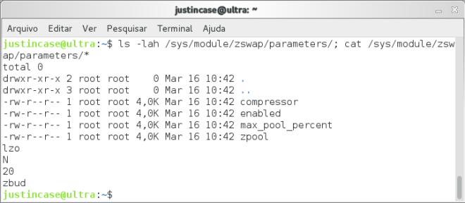 Captura de tela da configuração do zswap