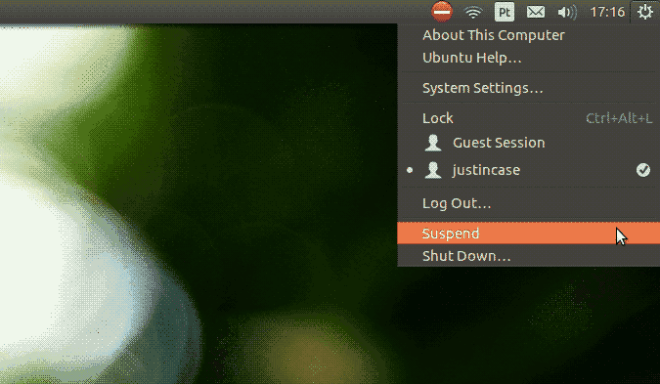 Ubuntu menu suspend