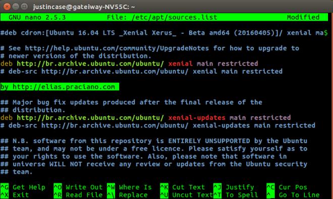 Ubuntu 16.04 edit sources