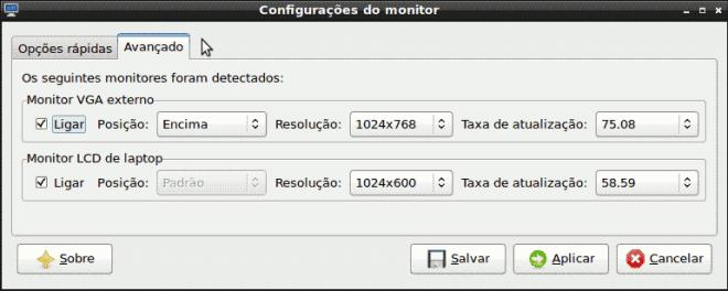LXDE - configurações avançadas do monitor