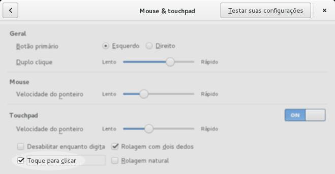 gnome - touchpad - toque para clicar
