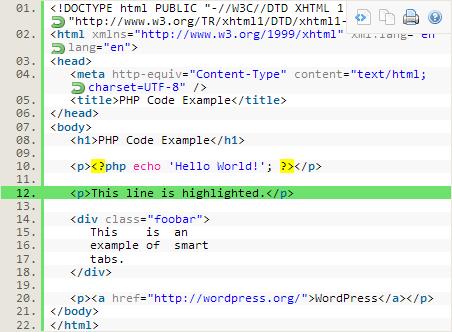 syntax highlighter evolved screenshot