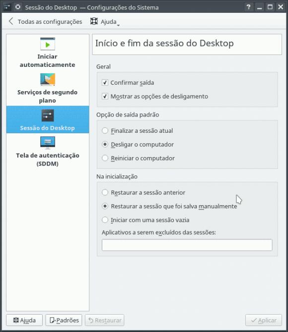KDE sessão de desktop