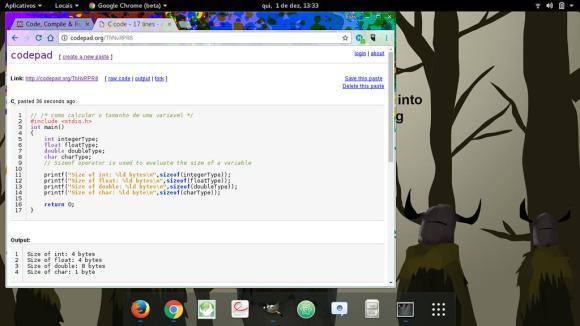 captura de tela codepad sobre o GNOME