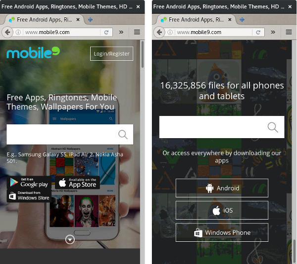 screenshot mobile9 site web