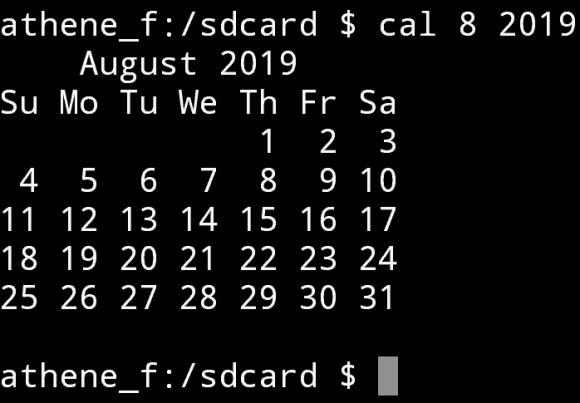 calendar 8 August 2019