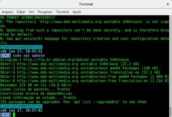captura de tela do terminal
