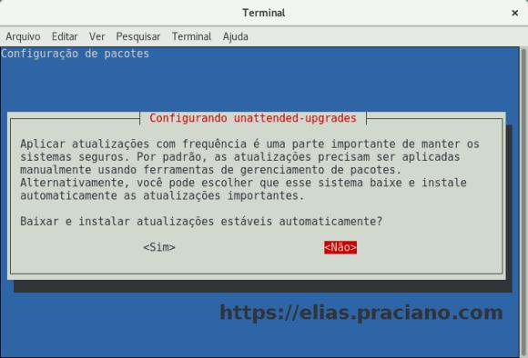 captura de tela debian unattended upgrades