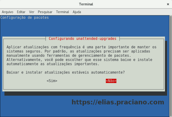 captura de tela debian unattended upgrades
