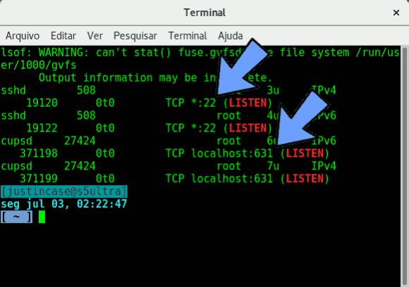 lsof listening ports