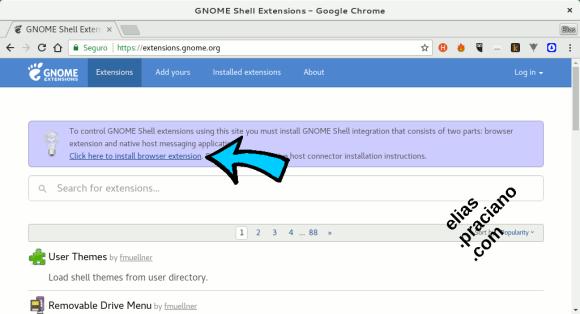 gnome shell extension para chrome