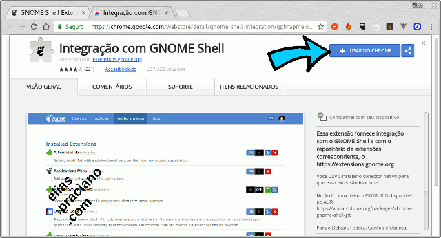 gnome shell extension google chrome