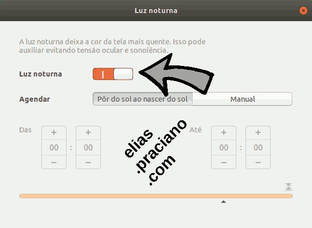 Ajuste da luz noturna no Ubuntu.