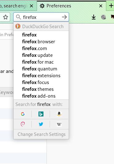 Firefox caixa de busca