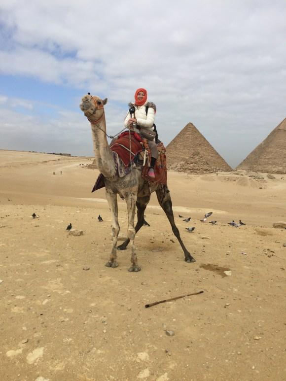 駱駝に乗っているところ