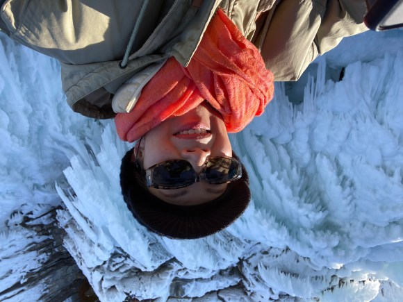 Elica selfie at the strange icicles of HorseHead of Baikal