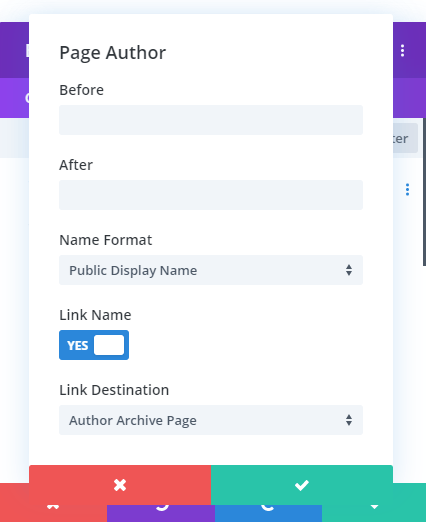 Page author link name in Divi