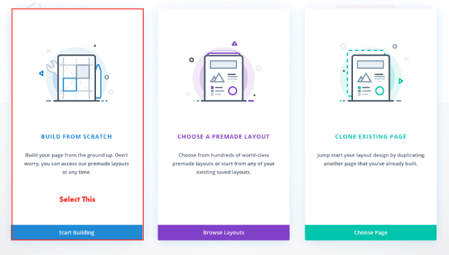 Build From Scratch option in Divi builder