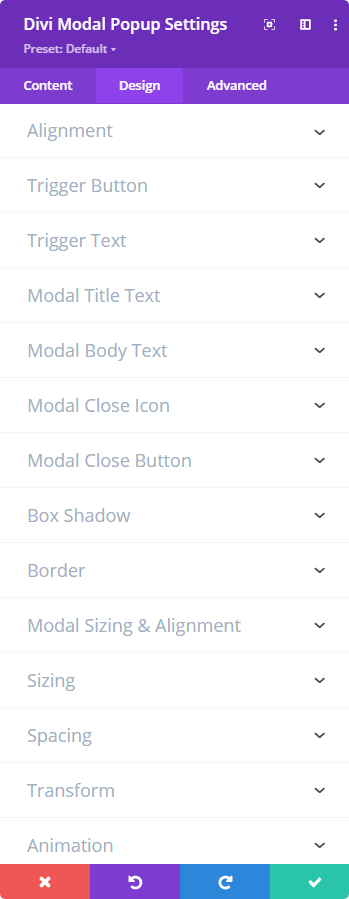 Divi Modal Popup and its Design tab settings
