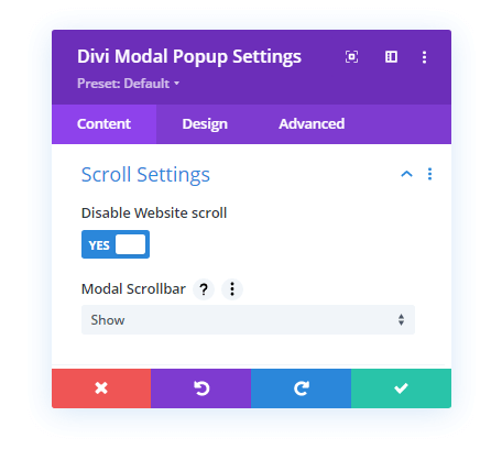 Divi Modal Popup scroll settings
