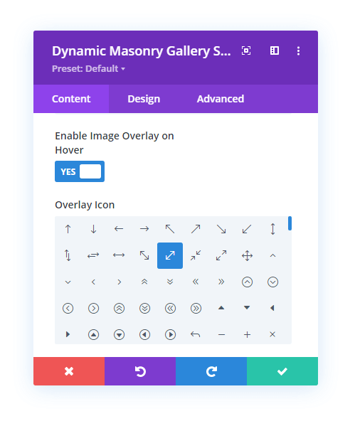 Icon overlay on hover in Divi Gallery Extended plugin