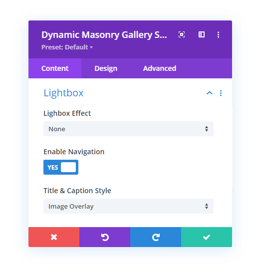 Lightbox settings available in the Divi Gallery Extended plugin