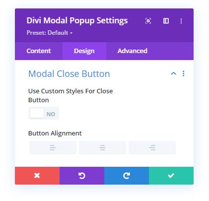 Modal Close Button settings in the Design tab