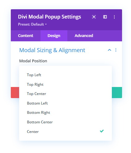 Modal Sizing and Alignment setting