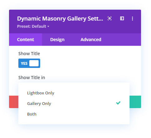 Option to display image title in Divi gallery