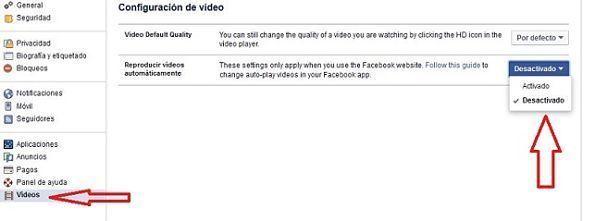 cómo desactivar la reproducción automática de videos en Facebook