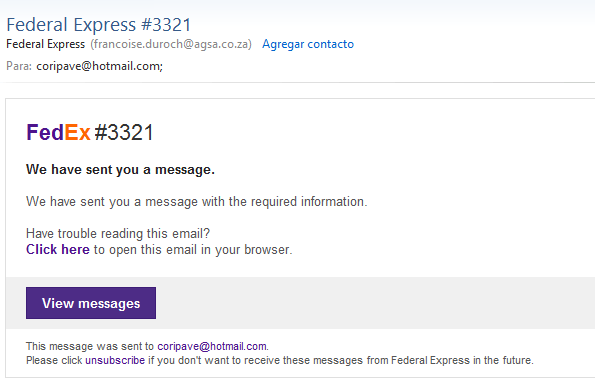 Tipo de phishing FedEx