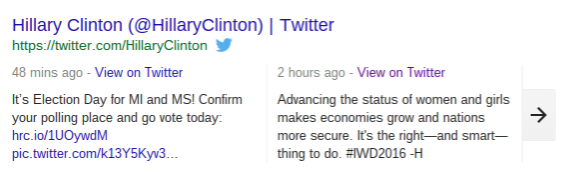 An Example of Tweets Embedded in Google Search Results